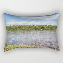 White clouds over the river. Rectangular Pillow