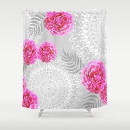 Mandalas and peonies n.1 Shower Curtain