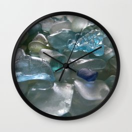 Ocean Hue Sea Glass Assortment Wall Clock