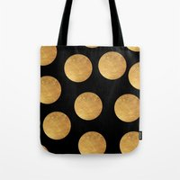 polkadot Tote Bags featuring GOLD POLKADOT 1 by wlydesign
