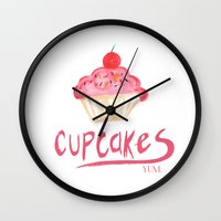 cupcakes Wall Clocks featuring CUPCAKES by Lauren Lee Design's