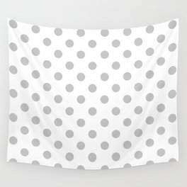 Polka Dots (Gray & White Pattern) Wall Tapestry