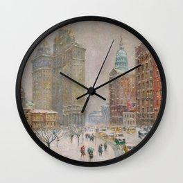 City Hall Park, The New York Scene, NYC skyline winter landscape painting by Guy Carleton Wiggins Wall Clock