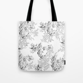 PEACOCK LILY TREE AND LEAF TOILE GRAY AND WHITE PATTERN Tote Bag
