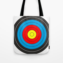 Yellow, red, blue, black target on white background Tote Bag