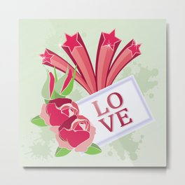 Red roses and shooting stars spell LOVE Metal Print