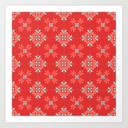 Red Background with Coral and Aqua Flower Pattern Art Print