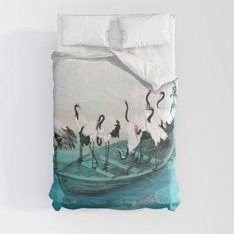 White Cranes Comforters