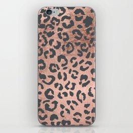 Modern charcoal grey rose gold leopard pattern iPhone Skin
