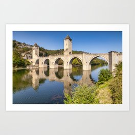 Pont Valentre and River Lot, Cahors Art Print