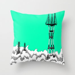 San Francisco - Sutro Tower (green sky) Throw Pillow