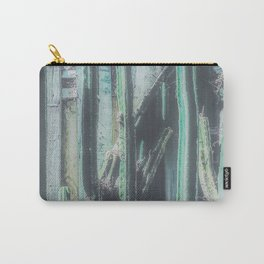 closeup green cactus with old vintage wood background Carry-All Pouch