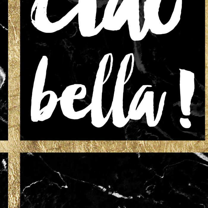 Modern elegant typography Ciao Bella gold leaf black marble Leggings