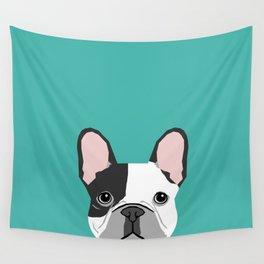 French Bulldog black and white peeking dog head funny dog gifts frenchies must haves Wall Tapestry