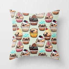 Cupcake Pugs Throw Pillow