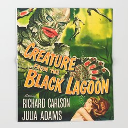 Creature from the Black Lagoon, vintage horror movie poster Throw Blanket