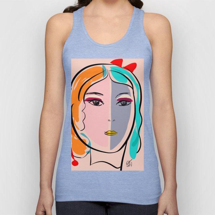 Pastel Pop Art Girl Portrait Minimalist Unisex Tank Top