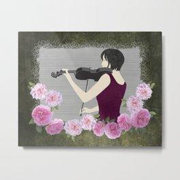 Violin and Roses Metal Print
