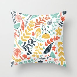 Forest Flora Throw Pillow