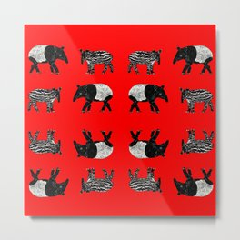 Dance of the Tapirs in red Metal Print