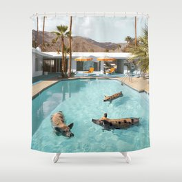 Pig Poolside Party Shower Curtain