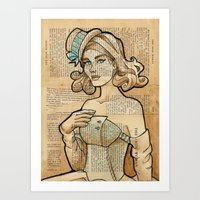 hallion Art Prints featuring Iron Woman 7 by Karen Hallion Illustrations