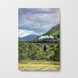 Train on a bridge Metal Print