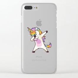 Dabbing Unicorn Shirt Dab Hip Hop Funny Magic Clear iPhone Case
