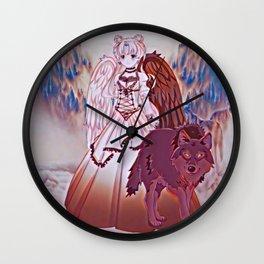 Wolf Princess Monochrome (black wolf) Wall Clock