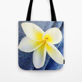 Denim Frangipani Natural Light Tote Bag