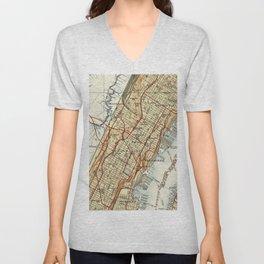 Weehawken, Union City & West New York Map (1935) Unisex V-Neck