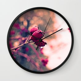 Berrys in the November rain Wall Clock