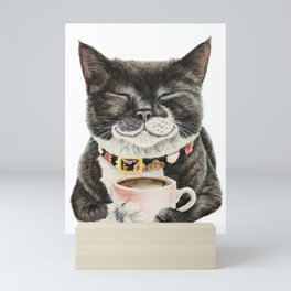 Purrfect Morning , cat with her coffee cup Mini Art Print