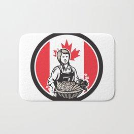 Canadian Female Organic Farmer Canada Flag Icon Bath Mat