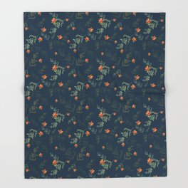The floral style pattern on a blue background . Throw Blanket