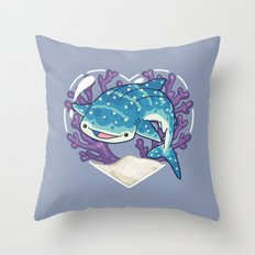NOM the Whale Shark Throw Pillow