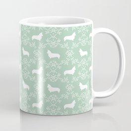 Corgi silhouette florals dog pattern mint and white minimal corgis welsh corgi pattern Coffee Mug