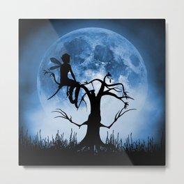 Moonlight Wondering Fairy - Blue Metal Print