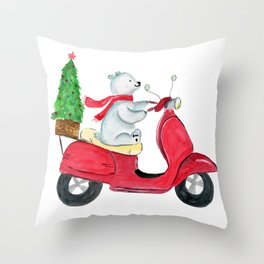 Watercolor Of Polar Bear Delivering Christmas Tree Throw Pillow