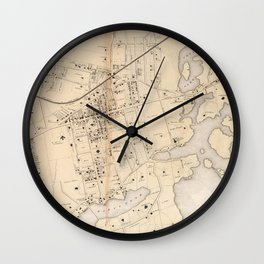 Vintage Map of New Rochelle NY (1867) Wall Clock