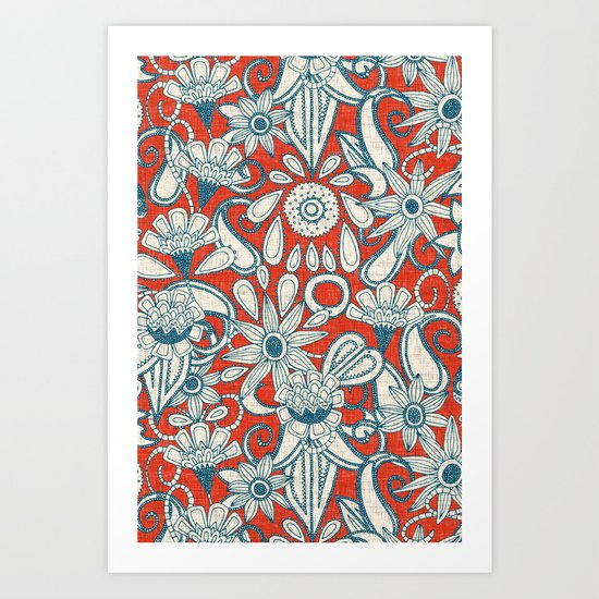 sarilmak fire orange blue Art Print