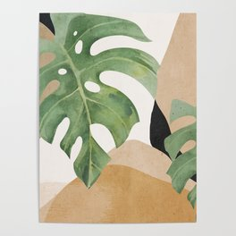 Abstract Art Tropical Leaves 3 Poster