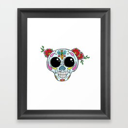 Sugar skull with flowers and bee Framed Art Print