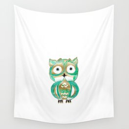 Owl Fun #4 #mint #green #gold #drawing #decor #art #society6 Wall Tapestry