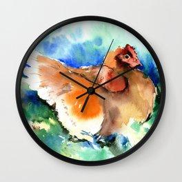 Hen in the Farm Wall Clock