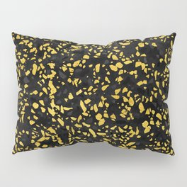 Terrazzo Memphis black grey gold Pillow Sham