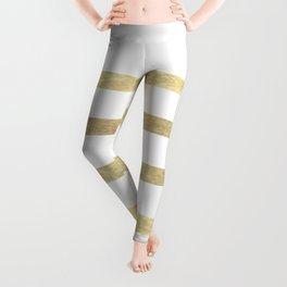 White and Gold Stripes Leggings