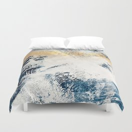 Sunset [1]: a bright, colorful abstract piece in blue, gold, and white by Alyssa Hamilton Art Duvet Cover
