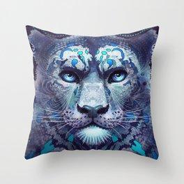 Snow Leopard Late Night Throw Pillow