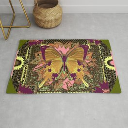 Ornate Mauve Swallow Tailed Butterfly Yellow-Khaki Design Rug